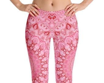 Printed Workout Leggings, Mid Rise Pink Mandala Yoga Pants, Leggings Gifts for Her, Custom Leggings, Handmade Yoga Pants