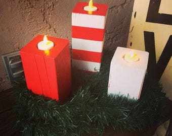 Wooden Candy Cane Candles