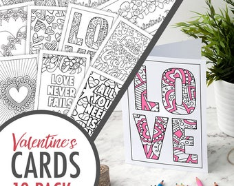 Valentine Cards (10 pack) // Printable Valentine's Day Cards / PDF Valentine coloring page cards / digital vday card / valentine card ideas
