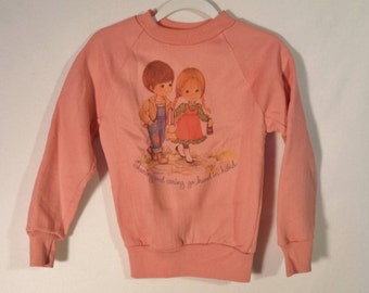 Cutest 70s kids sweatshirt// Vintage Sharing and Caring Sears screen printed pullover// Youth girls size 6 6X