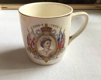 Vintage 1953 Commemorative Coronation Queen Elizabeth II Mug