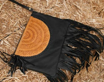 Black Leather Bag * Leather Purse * Mandala Leather Purse * Mandala Leather* Shoulder Bag * Fringe Bag * Fringe Leather Purse BP008 B