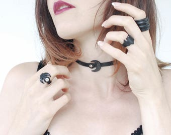 Black Leather Thin Choker for women / MOON SALES -40%