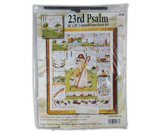 "23rd Psalm - 16"" x 20"" Counted Cross Stitch Kit - Design Works Crafts 2538 - I shall not want Cross Stitch Kit - Psalm 23 cross stitch kit"