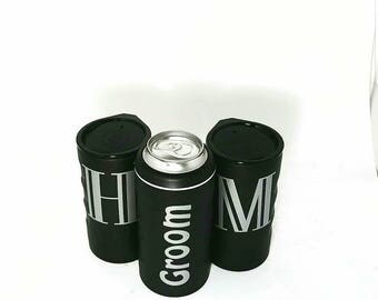 Groomsmen gift, bachelor party, grooms gift, wedding party favor, bridal party, can holder, can cooler, beer holder, engagement gift
