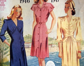 1940s vintage sewing pattern catalogue Australian Home Journal Summer Fashions 1946 1947 Mid Century post war Glamour Women and children