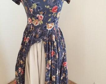 Vintage Floral Petticoat Dress (S/M)