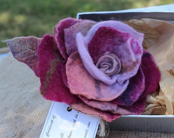 Handmade textile jewelry Felted brooch Flower pin
