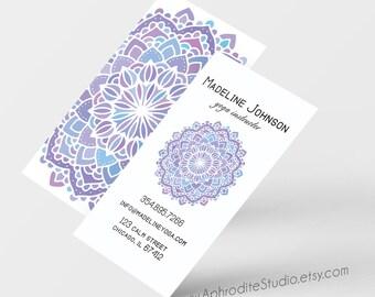 Mandala business cards - Yoga business cards - Printable business cards - Pre-made business cards - boho business cards - business cards