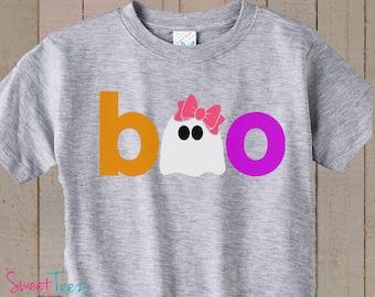 Halloween Shirt Boo Shirt Girl Ghost Shirt Heather Gray TSHIRT Halloween Gift for Kids