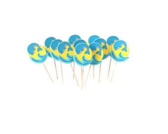 Playful Dolphin Cupcake Toppers, Set of 12, Summer-Beach Party Decoration, TwoSistersGreetings