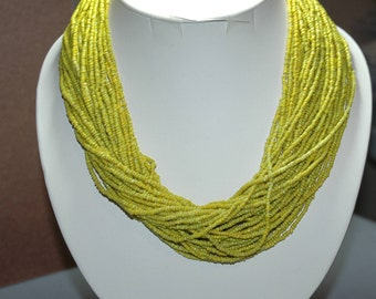 Multi Strand Yellow Seedbead Necklace Vintage