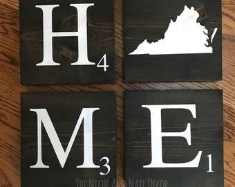 State Home Decor, Scrabble Tiles, Home Scrabble Sign, Virginia Wood Sign, Home Decor, Wood Signs, State Sign, Scrabble Sign, Rustic Decor