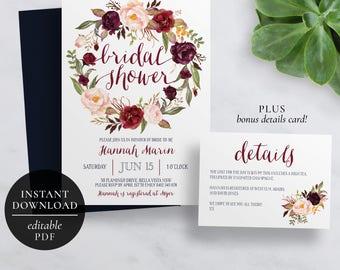 Printable Marsala Bridal Shower Invitation   Editable Template   Flora Kitchen Tea Invitation   Burgundy Flowers   Instant Download