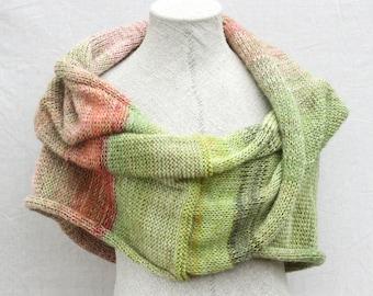 Bridesmaid shawls / Boho autumn scarf / Evening shrug / Cozy mohair wrap for winter / Knit infinity shawl for fall - Rhubarb