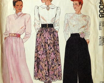 Uncut 1980s McCall's Vintage Sewing Pattern 4008, Size S; Misses' Skirt and Pants