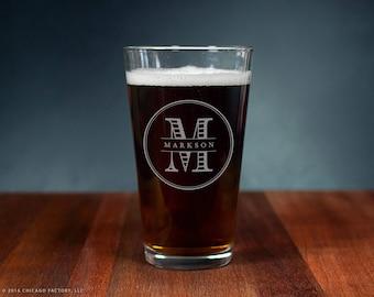 Custom Pint Glass, Custom Monogram, Engagement Gift, House Warming Gift, Custom Home Brewing Gift, Home Brew, Bar Glasses (GG4114)