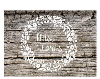 Flower Wreath  Monogram  SVG DFX Cut filescrapbook vinyl decal wood sign cricut cameo t shirt design cardstock