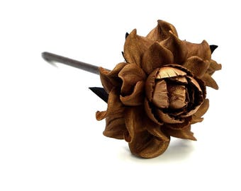 """Wooden floral hair stick 7"""", genuine leather copper flower & natural wood hair stick, handmade hair rose, hair accessories, Hair jewelry"""