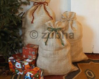 Rustic Christmas Hessian Sack with Tie Top, Jute Gift Bag, Christmas Stocking, Santa Sack