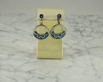 Sterling Silver Inlaid Dangle Earrings (pierced)