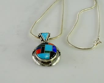 """Reserved Townley Inlaid Sterling Pendant on a 18"""" Sterling Snake Chain"""