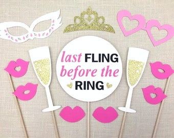 Bachelorette Party Photo Booth Props / Bridal Shower Props / Last Fling Before The Ring / FULLY ASSEMBLED / 12 PC