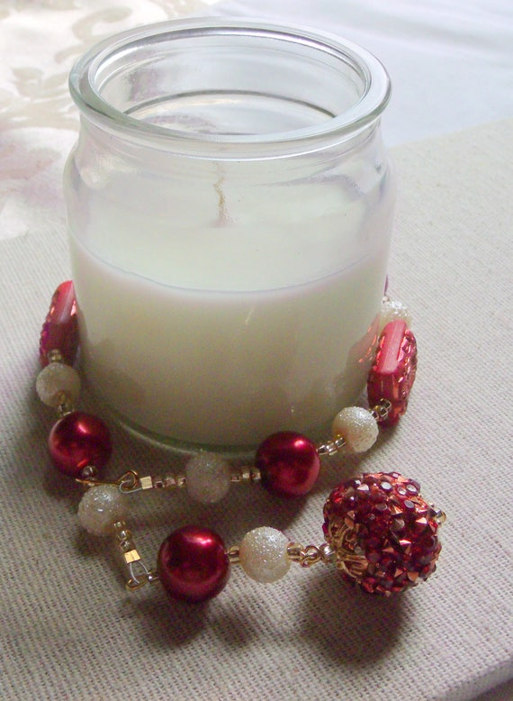 Red candle garland - multi use decor ideas -  fire and ice - ring bling - table decorations - pillar- container-tin - house warming -holiday