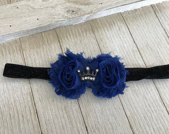 Elastic Headband - Flower Headband - Navy Shabby Chic Flower headband - Girls Headband