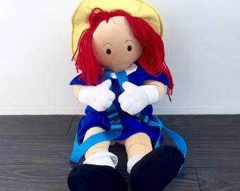 "1997 Madeline Backpack 24"" Vintage Book Bag Soft Stuffed Doll Plush Classic 90s TV Cartoon Show Red Haired Girl Ruck Sack Knapsack Retro"