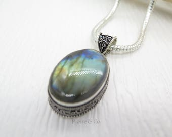 Antique Rainbow Labradorite Sterling Silver Pendant and Chain