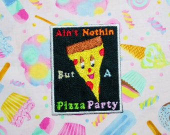 Pizza Party Patch, Iron On Patch