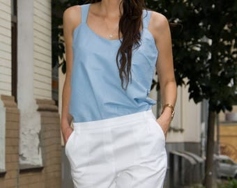 Sky Blue Cotton Top and White Cotton Shorts by TAVROVSKA, Summer Top and Short Pants, Cotton Pleated Shorts