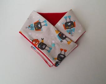 "Scarf child boy ""Funny Robots"" cotton and fleece."