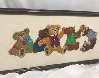 Vintage Rectangular Teddy Bears Needlepoint Cross Stitch Vibrant Colors  Framed in Original Wooden Frame