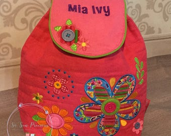 Stephen Joseph Backpack, Personalised School,Nursery Bag, Embroidered Signature Range, flowers, Personalized School Bag
