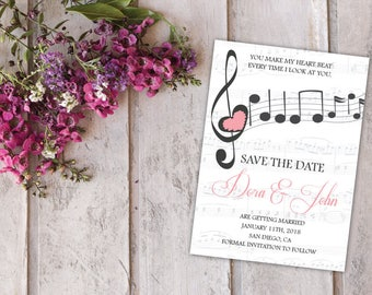Music Save the Date Calendar Template/Printable Save the Date Postcard/Save the Date Announcement/Printable Save the Date Card/Mark the Date