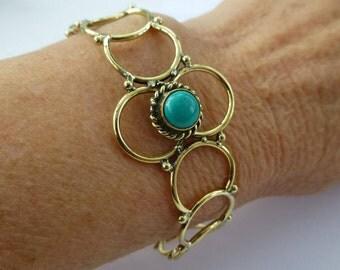 Brass and turquoise bracelet UK seller