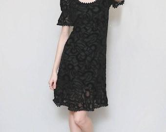 Vintage 1960's Black Velvet Abstract Pattern Mini Dress