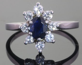 Classic vintage engagement ring natural sapphire and diamonds 18K white gold Free resizing