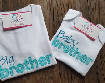Big Brother Baby Brother Shirt or Onesie / Adorable set for Baby and Big Brother