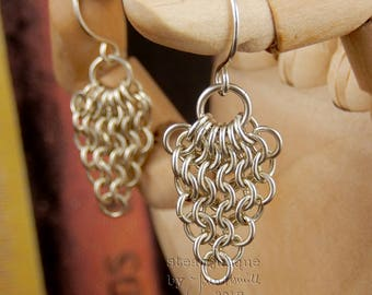 Chain mail earrings, chainmaille earrings, Euro 4-in-1 earrings, sterling silver earrings, sterling earrings, viking jewellery