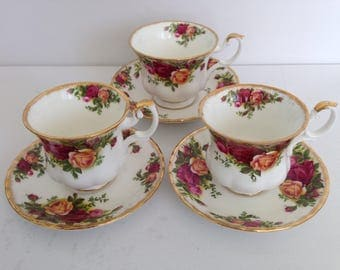 SALE- Royal Albert Old Country Roses - Set of 3 - Fine Bone China