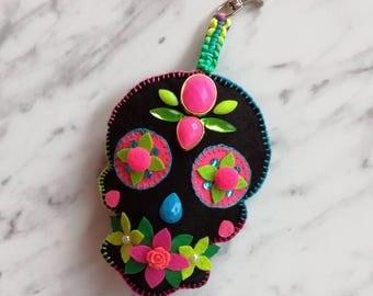 Handmade Sugar Skull Bag Charm, Unique Boho Handcrafted Keychain, Skull Neon Rainbow Felt Zipper Charm, Neon Yellow Pink Green Bag Charm