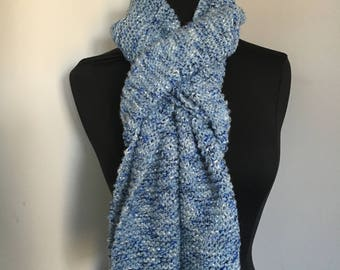 Knitted Soft  Very Long Blue Tweed Scarf