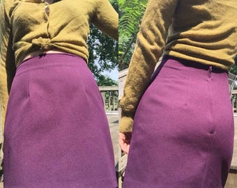 90's VTG Purple High Waist Mini Pencil Skirt