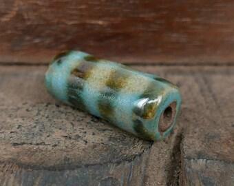 Ceramic Tube Bead Light Blue Dark Green Chrome Stripe Handmade Pottery