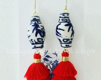RED Mini Stacked Tassel Earrings | Chinoiserie, blue and white, ginger jar, gold, dangle, lightweight, layered, dainty, tiered