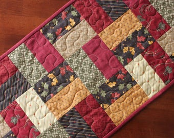 Quilted Fall Table Runner, Thanksgiving Table Runner, Fall Table Topper, Handmade, Fall Decor, Thanksgiving Decoration, Red Green Brown