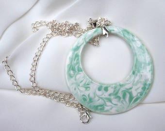 Pendant necklace, Green & white ceramic pendant, Modern fun jewellery, Handmade ceramic, Original gift idea, Unique fashion accessory